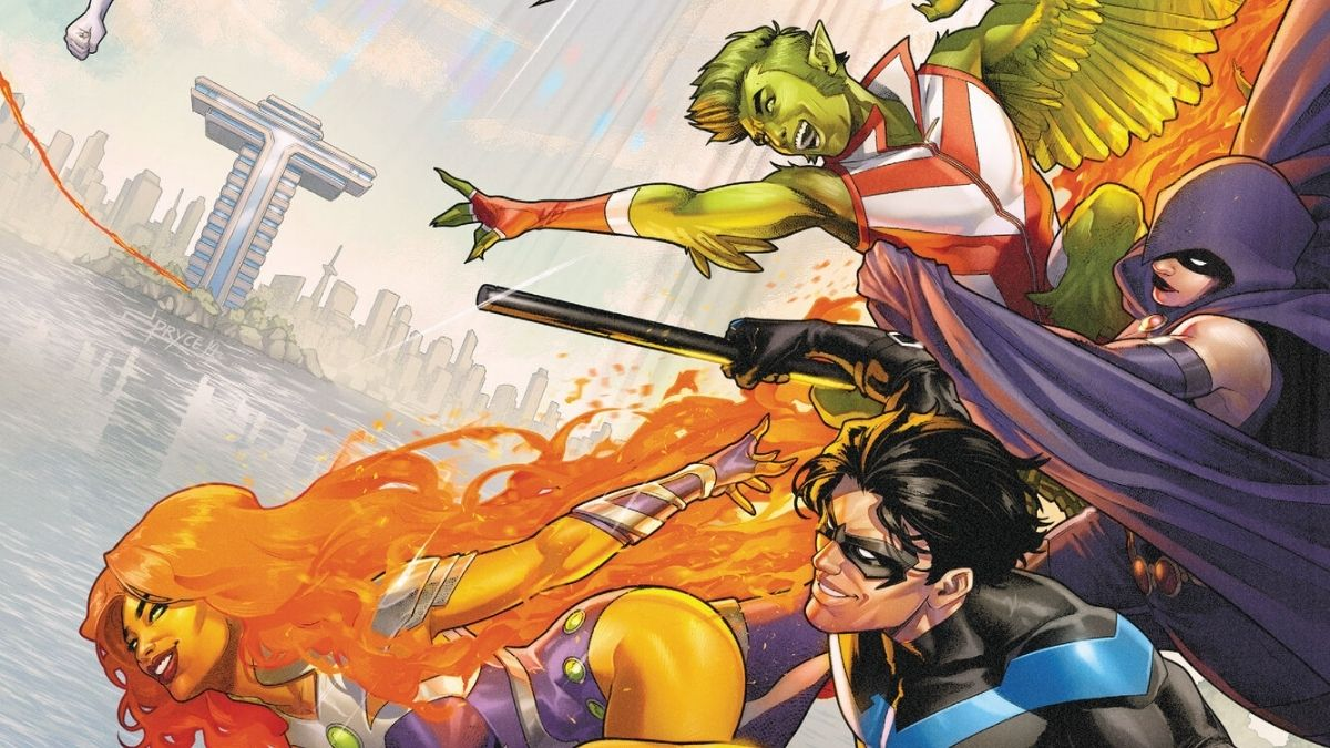 For the cover of Titans United, Beast Boy, Raven, Starfire, and somehow Nightwing soar over the water in front of Titans Tower.